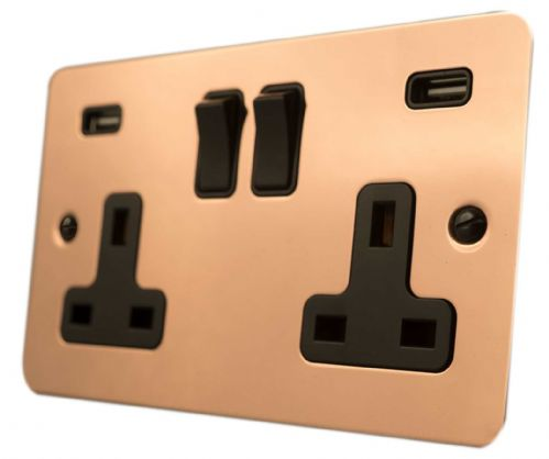 G&H FBC910B Flat Plate Bright Copper 2 Gang Double 13A Switched Plug Socket USB